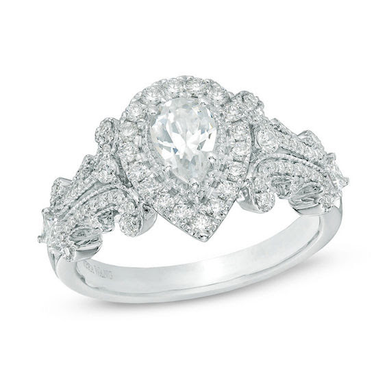 Vera Wang Love Collection 1 Ct Tw Pear Shaped Diamond Frame