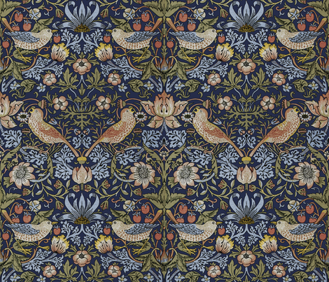 William Morris ~ Strawberry Thief ~ Original Blue wallpaper  peacoquettedesigns  Spoonflower