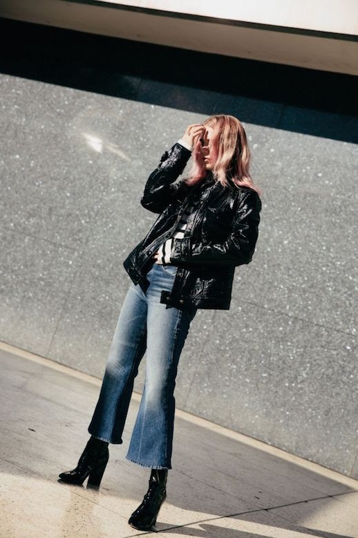 Le Fashion Blog Leather Vintage Jacket Striped Turtleneck Flare Jeans Black Sock Boots Via Always Judging