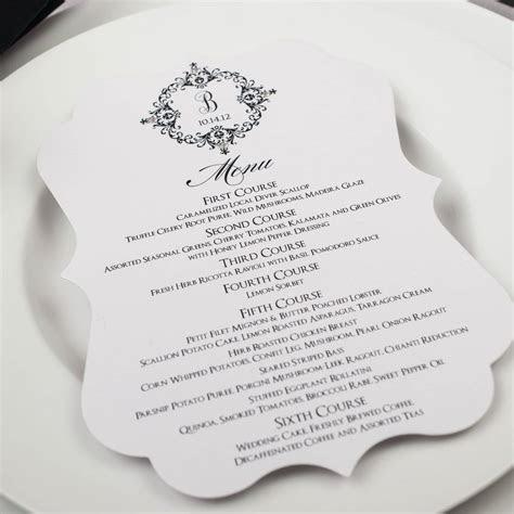 Elegant Wedding Menus   Too Chic & Little Shab Design