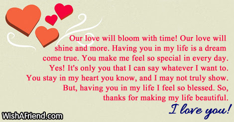 Our Love Will Bloom With Time Short Love Letters