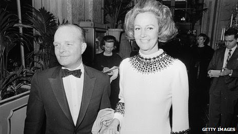 Katherine Graham, shown with Truman Capote in 1966, was the former publisher