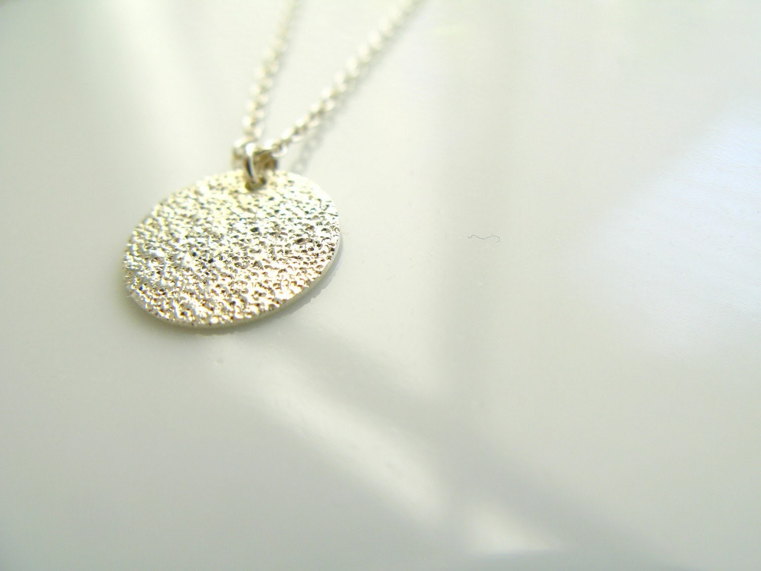 Tiny Little Stardust Sparkle Coin Necklace in Silver