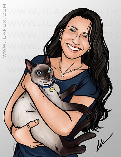 retrato digital, retrato mulher com gato, retrato bonito, retrato para presente, retrato personalizado, ila fox