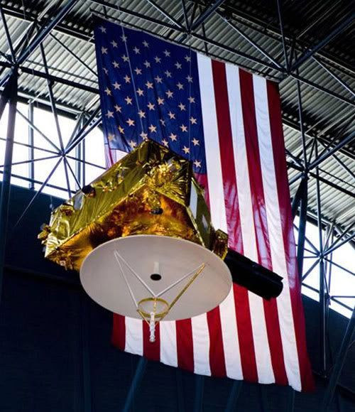 A full-size replica of the New Horizons spacecraft hangs from the rafters of the Udvar-Hazy Center in Washington, D.C.