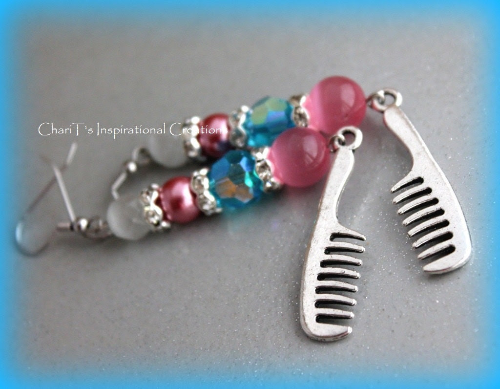Pink and turquoise I Love My Hair Earrings