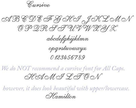 Cursive font for Engraving