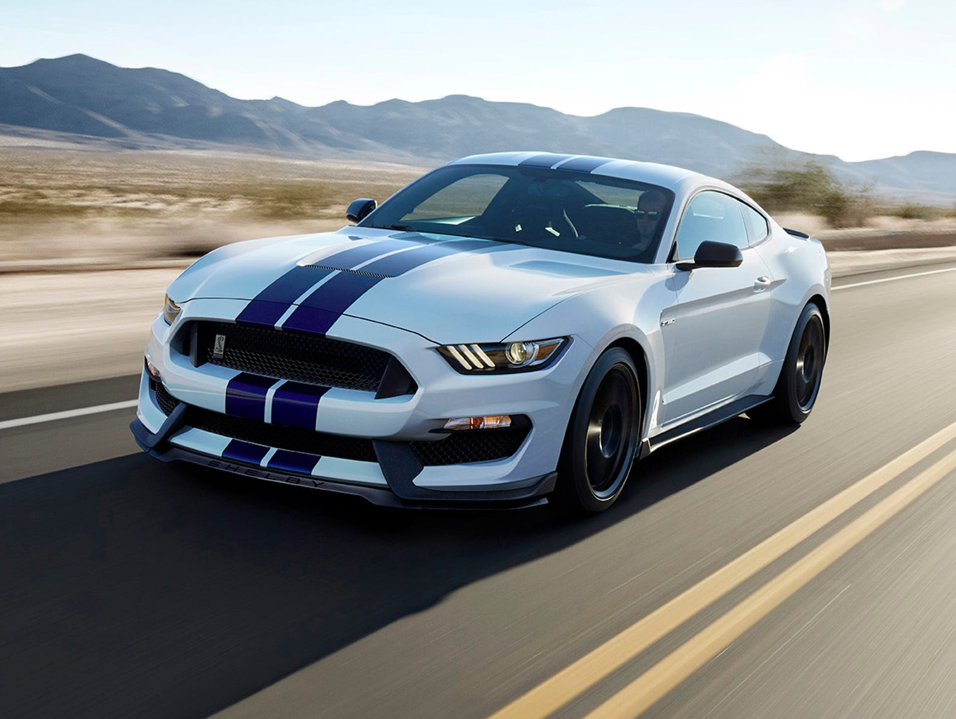 The all-new Shelby GT350 Mustang in Oxford White with