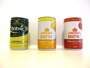 English: Canned fruit juices by Britvic.
