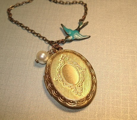 Vintage Locket Necklace Blue Bird Locket Jewelry, Vintage Style Brass Locket and Pearl Necklace Wedding - RhondasTreasures