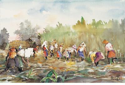 〈台灣甘蔗園收成時〉,2007