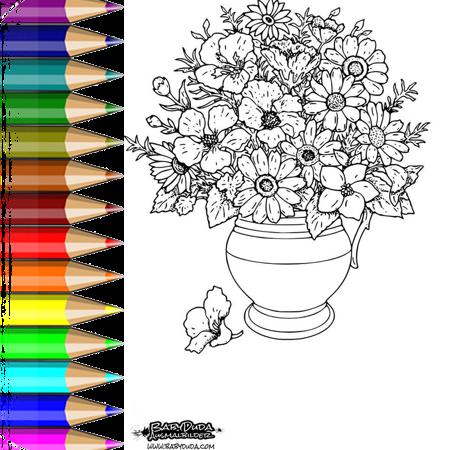 ausmalbild vase mit blumen - Über blumen