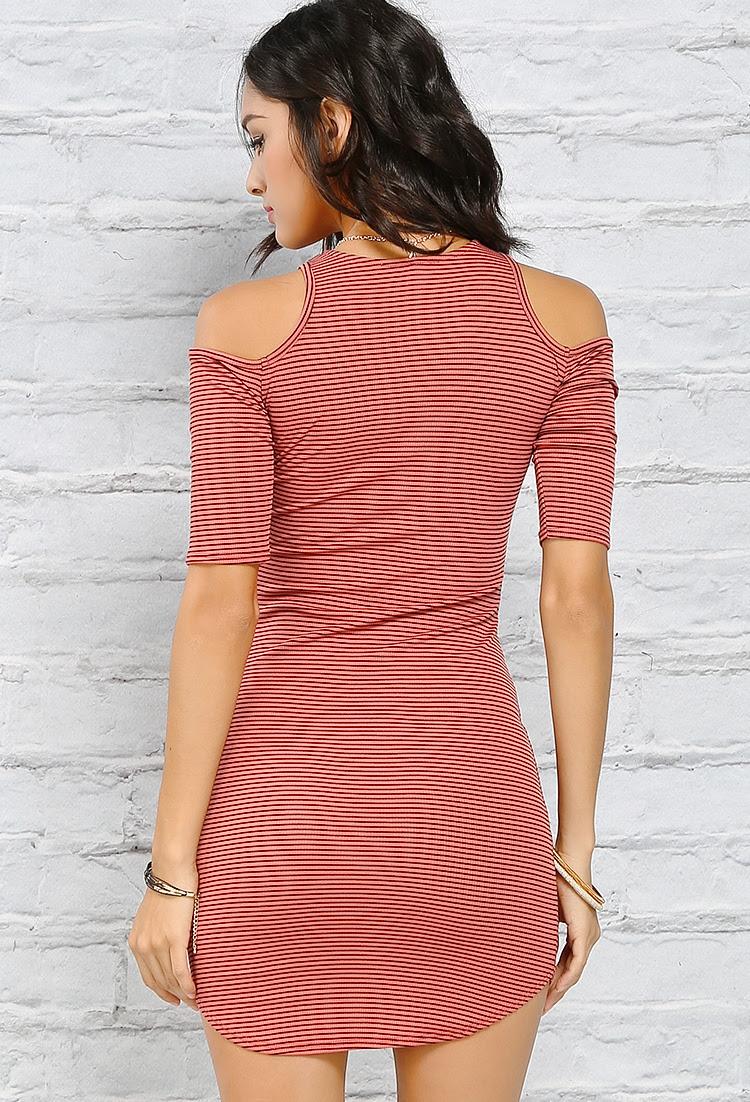 Dress Striped Bodycon Shoulder Casual Open long melbourne