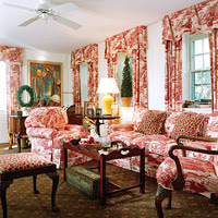 Red & White Chairs & Curtains