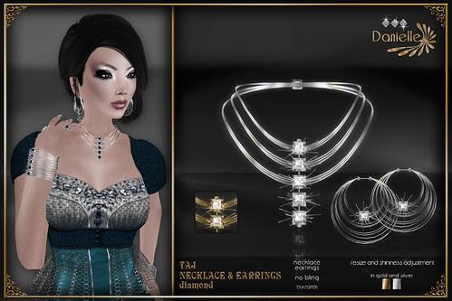 DANIELLE Taj Necklace And Earrings Diamond