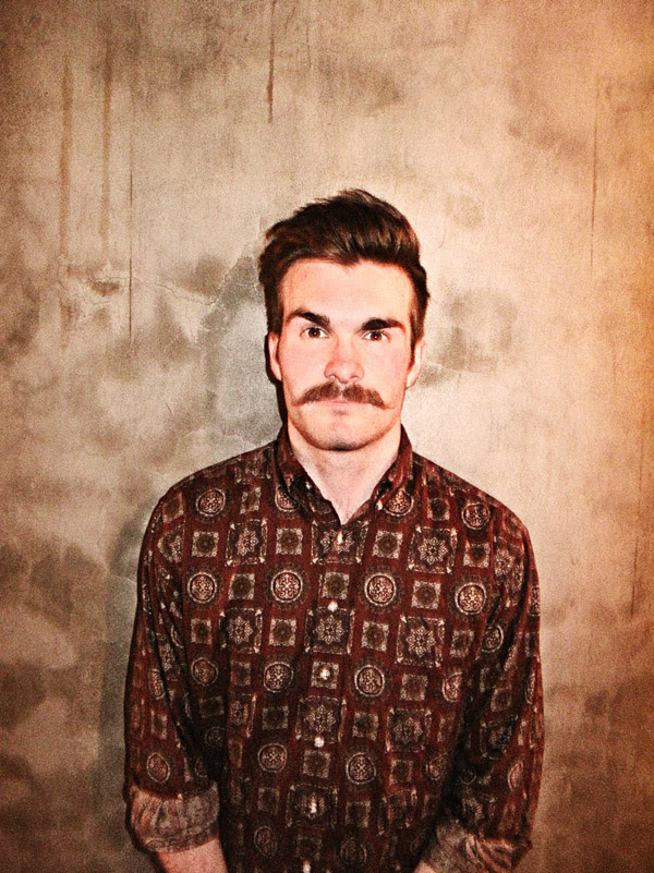 Bridgemary Kiss guitarist, Portrait with Mustache and Brown print shirt , Icon Brand at Hunky Dory Social Club Darlinghurst F_600-Adj_3955