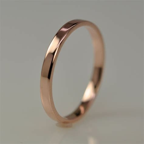2mm Rose Gold Wedding Band, Simple Stacking Ring 14K Gold