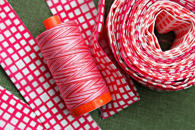 Tula Pink Varigated Aurifil & AGF Squared Elements in Fuchsia & Watermelon