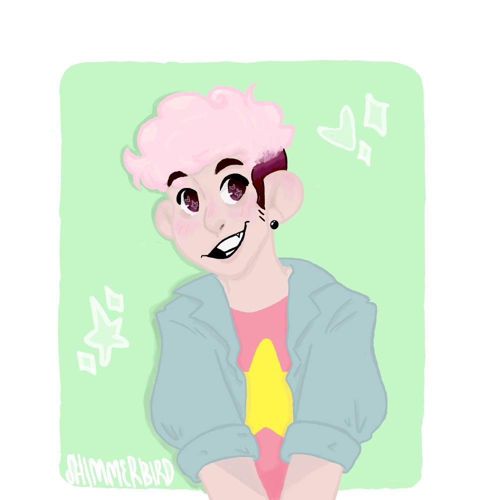about a month or so ago @sabertoothwalrus posted this drawing featuring an older steven with pink hair!! i thought the idea was just so cute that i decided to take a crack at it too!!