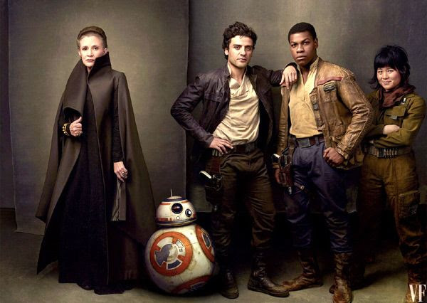 General Leia (the late Carrie Fisher), BB-8, Poe Dameron (Oscar Isaac) and Finn (John Boyega) return in this December's STAR WARS: THE LAST JEDI, with newcomer Rose Tico (Kelly Marie Tran).