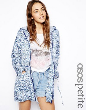Image 1 of ASOS PETITE Rain Pac A Parka In Ditsy Floral