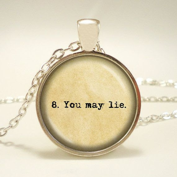 """The Giver literary quote """"8. You may lie."""" Handcrafted Keepsake Pendant - Lois Lowry - Jonas List of Rules -"""