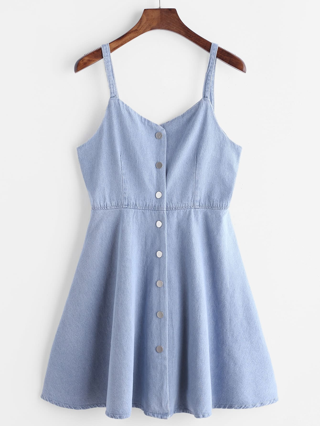 blue single breasted slip denim dressfor womenromwe