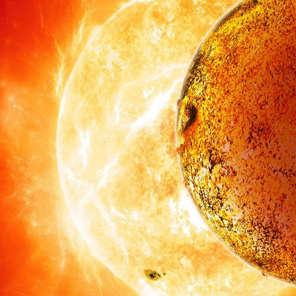 An artist's concept of the exoplanet Kepler-78b orbiting its parent star.