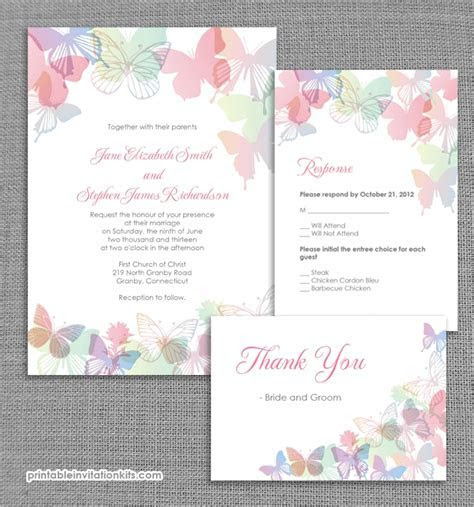 Spring Butterflies Wedding Invitation   Free Printable
