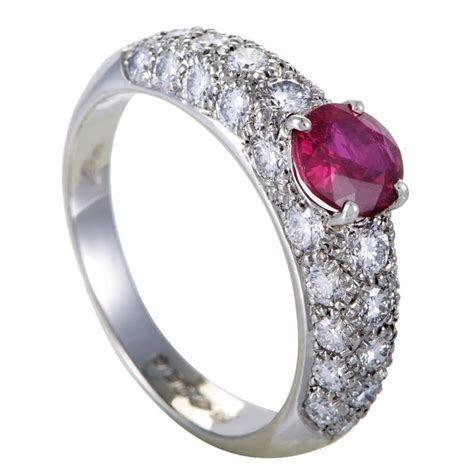 Garrard London Ruby Diamond Pave Platinum Band Ring at 1stdibs