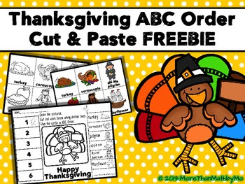 Thanksgiving ABC Order Cut and Paste Printable---FREEBIE