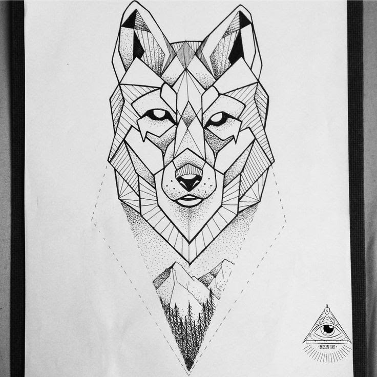 Abstract Wolf Head Tattoo Design Sample