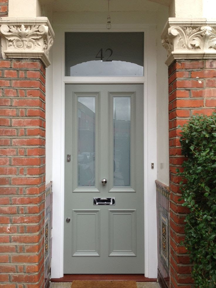 Victorian front door in Farrow & Ball Pigeon No. 25 exterior eggshell