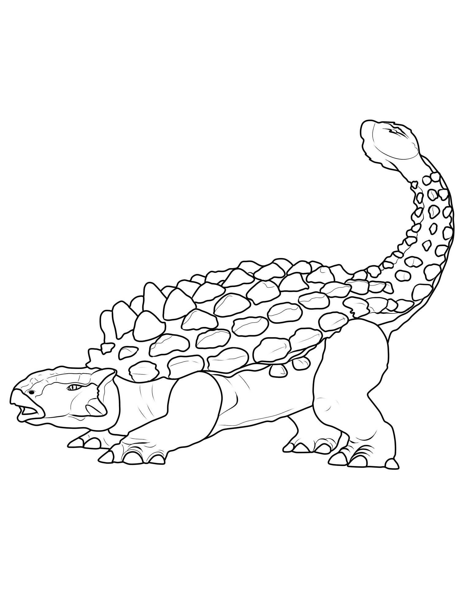 Ausmalbild Dinosaurier und Steinzeit Dinosaurier Ankylosaurus kostenlos ausdrucken