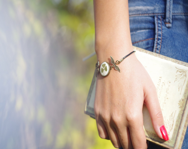Bracelet with real flower inside, pressed flower jewelry, St Patricks day jewelry natural jewelry, resin jewelry - CloverPower