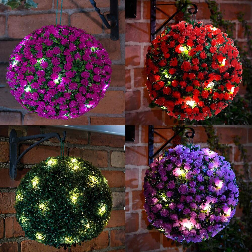 28cm Solar Powered LED Rose Topiary Ball Hanging Boxwood Garden Light Ornament eBay
