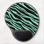 Mint Green Zebra Striped Gel Mouse Pad