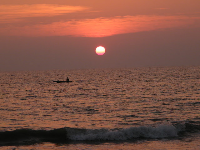 saluting the setting sun, Varkala Beach, Kerala