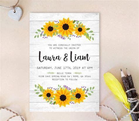 Wreath wedding invitation PRINTED   Sunflower wedding