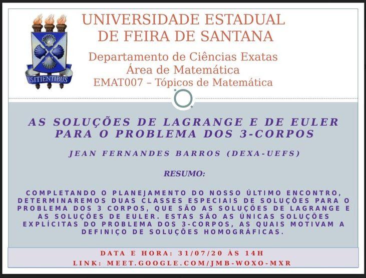 Seminarios De Matematica As Solucoes De Lagrange E De Euler Para O Problema Dos 3 Corpos Noticias Colegiado De Matematica