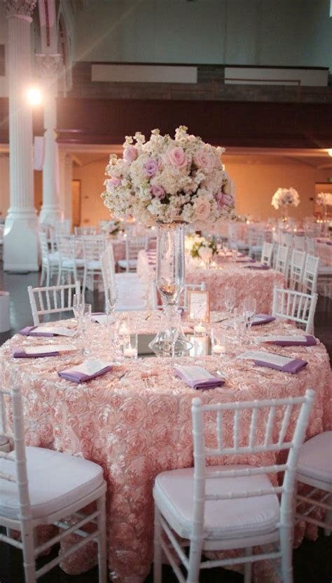 Fantastic Blush Rosette Tablecloth with Lavender Napkins