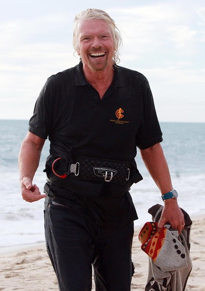 Sir Richard Branson Kite Surfs to Cottesloe Beach for Strike a Cord for Cancer Foundation Function in Perth Western Australia.