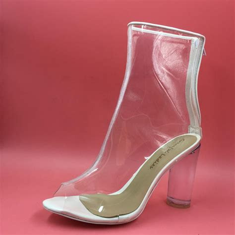 Clear Plastic Wedding Shoes Boots See Through PVC Women