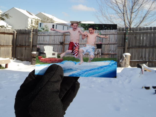 Dear Photograph, My boys have the winter time blues.Snow has finally arrived in Columbus, Ohio andthey are already askingwhenwill we be setting up the pool in the backyard again…I'm thinking it will be a while… Dabir
