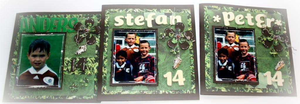 Forsiden av de 3 kortene til fjortisene Anders, Peter og Stefan