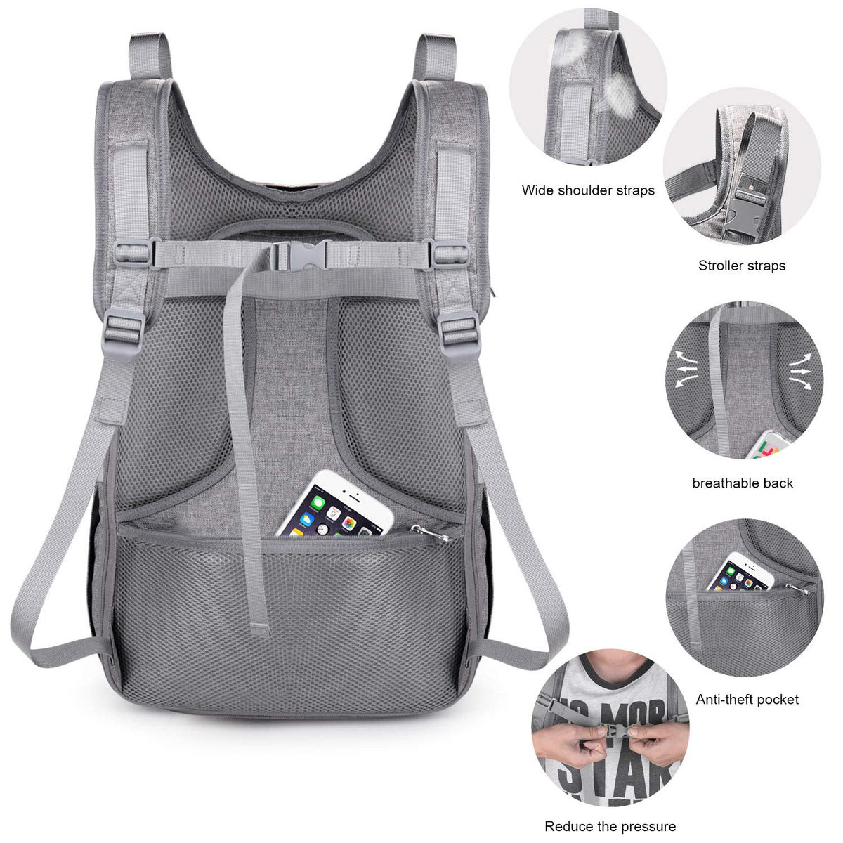Expandable Grey Baby Diaper Bagusb Charging Port Changing Pad Stroll Yookeehome
