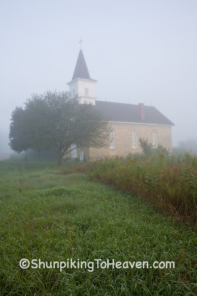 Country Church Cloaked in Early Morning Fog, Sauk County, Wisconsin