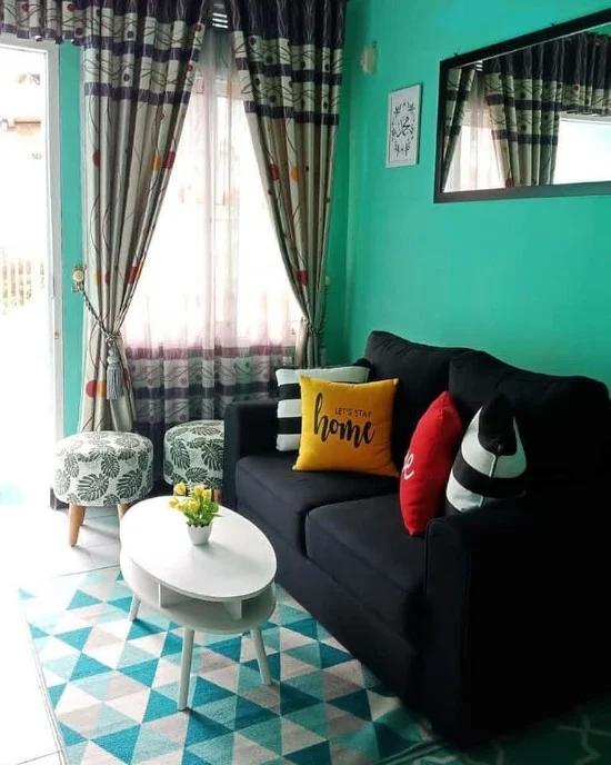 Desain Ruang Tamu Minimalis Warna Hijau