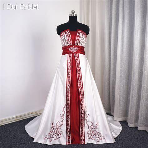 Aliexpress.com : Buy White Burgundy Satin Wedding Dress A
