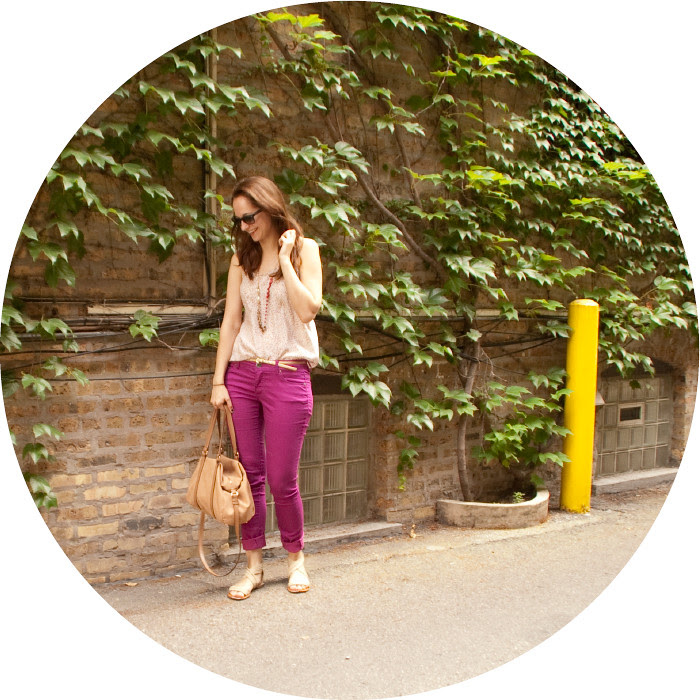 dash dot dotty, outfit blog, magenta target jeans, mossimo colored jeans, club monaco red spots, cuffed colored jeans, brights, summer weekends